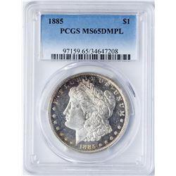 1885 $1 Morgan Silver Dollar Coin PCGS MS65DMPL
