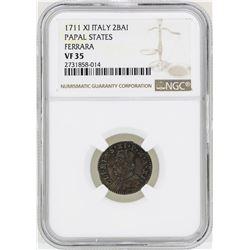 1711XI Italy 2BAI Papal States Ferrara Coin NGC VF35
