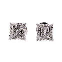14KT White Gold 0.50 ctw Diamond Square Stud Earrings