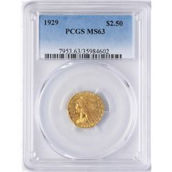 1929 $2 1/2 Indian Head Quarter Eagle Gold Coin PCGS MS63