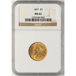 1897 $5 Liberty Half Eagle Gold Coin NGC MS62