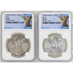 Lot of 1982Mo & 1983Mo Mexico Libertad Onza Silver Coins NGC MS65