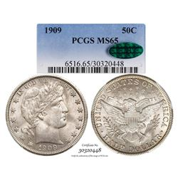 1909 Barber Half Dollar Coin PCGS MS65 CAC Amazing Toning