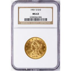 1901-S $10 Liberty Head Eagle Gold Coin NGC MS63