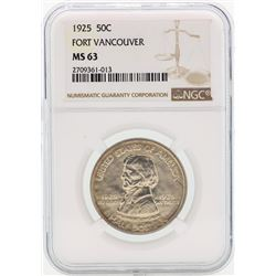 1925 Vancouver Commemorative Half Dollar Coin NGC MS63
