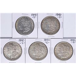 Lot of (5) 1890-S $1 Morgan Silver Dollar Coins
