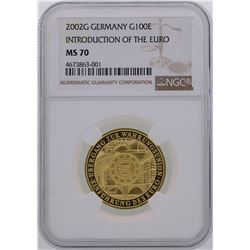 2002G Germany 100 Euro Introduction of the Euro Gold Coin NGC MS70