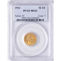1913 $2 1/2 Indian Head Quarter Eagle Gold Coin PCGS MS63