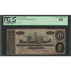 1864 $20 Confederate States of America Note T-67 PCGS Choice About New 55