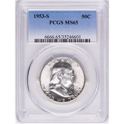 1953-S Franklin Half Dollar Coin PCGS MS65
