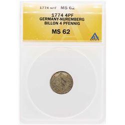 1774 Germany-Nuremberg Billion 4 Pfennig Coin ANACS MS62