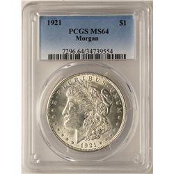 1921 $1 Morgan Silver Dollar Coin PCGS MS64