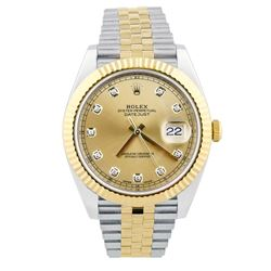 Rolex Mens Datejust 18KT Yellow Gold & Steel 41mm Champagne Diamond Dial Watch