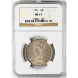 1837 Capped Bust Half Dollar Coin NGC MS61