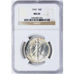 1947 Walking Liberty Half Dollar Coin NGC MS65