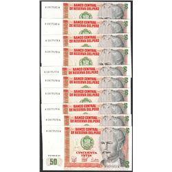 Lot of (10) 1987 Peru Cincuenta Intis Uncirculated Bank Notes