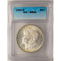 1880-S $1 Morgan Silver Dollar Coin ICG MS64