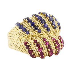 18KT Yellow Gold 1.00 ctw Ruby and Sapphire Dome Ring