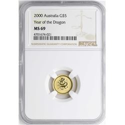 2000 $5 Australia Year of the Dragon Gold Coin NGC MS69