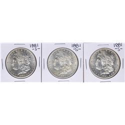 Lot of (3) 1881-S $1 Morgan Silver Dollar Coins