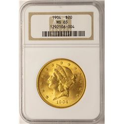 1904 $20 Liberty Head Double Eagle Gold Coin NGC MS65