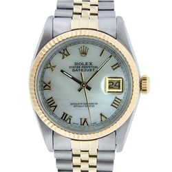 Rolex Men's Two Tone 14K Mother Of Pearl Roman Datejust Wristwatch