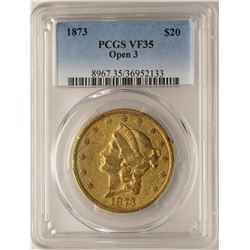 1873 Open 3 $20 Liberty Head Double Eagle Gold Coin PCGS VF35