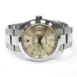 Rolex Mens Datejust Stainless Steel 41mm Silver Stick Luminous Dial Watch