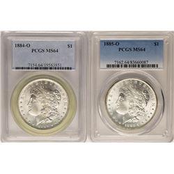 Lot of 1884-O & 1885-O $1 Morgan Silver Dollar Coins PCGS MS64