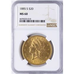 1885-S $20 Liberty Head Double Eagle Gold Coin NGC MS60