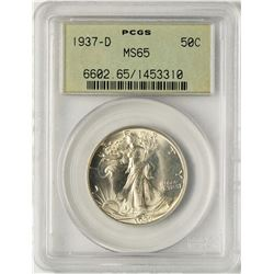 1937-D Walking Liberty Half Dollar Coin PCGS MS65 Old Green Holder