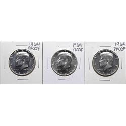 Lot of (3) 1964 Proof Kennedy Half Dollar Coins
