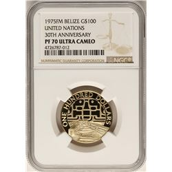 1975FM Belize $100 Gold Coin United Nations NGC PF70 Ultra Cameo