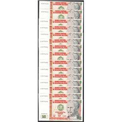 Lot of (15) 1987 Peru Cincuenta Intis Uncirculated Bank Notes