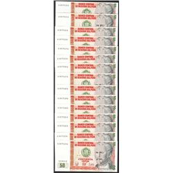 Lot of (15) 1987 Peru Cincuenta Intis Uncirculated Bank Notes
