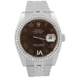 Rolex Datejust Stainless Steel 36mm Chocolate Roman Diamond Dial Watch