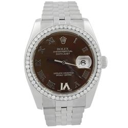 Rolex Datejust Stainless Steel 36mm Chocolate Roman Diamond Dial Watch