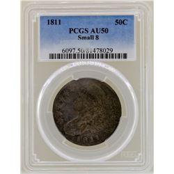 1811 Small 8 Capped Bust Half Dollar Coin PCGS AU50