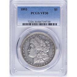 1893 $1 Morgan Silver Dollar Coin PCGS VF30