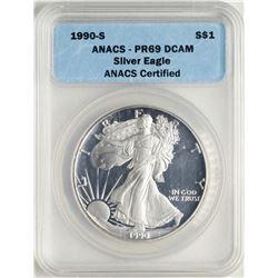 1990-S $1 Proof American Silver Eagle Coin ANACS PR69 DCAM