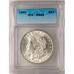 1890 $1 Morgan Silver Dollar Coin ICG MS62