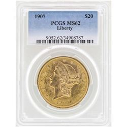 1907 $20 Liberty Head Double Eagle Gold Coin PCGS MS62