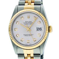 Rolex Mens Two Tone 14K Silver Diamond 36MM Datejust Wriswatch
