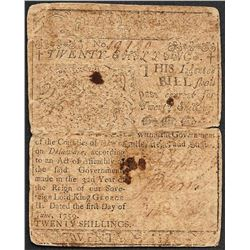 Printed by Ben Franklin June 1, 1759 Delaware Twenty Shillings Colonial Currency