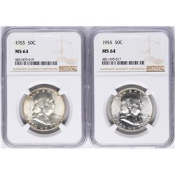 Lot of (2) 1955 Franklin Half Dollar Coins NGC MS64