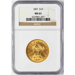 1897 $10 Liberty Head Eagle Gold Coin NGC MS63