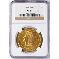 1899-S $20 Liberty Head Double Eagle Gold Coin NGC MS61