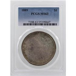 1889 $1 Morgan Silver Dollar Coin PCGS MS63 AMAZING TONING