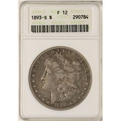 1893-S $1 Morgan Silver Dollar Coin ANACS F12