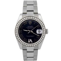Rolex Ladies Datejust Stainless Steel 31mm Blue Roman Diamond Dial Watch